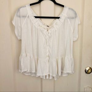 Free People | White Flowy Peasant Peplum Blouse